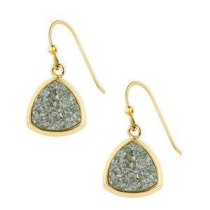 SAACHI Triangle Dangle Druzy Earring Aqua